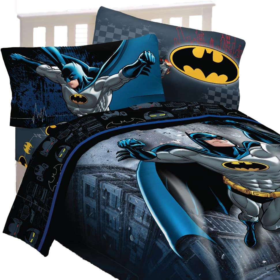 5pc DC Comics Batman Full Bedding Set Guardian Speed Comforter and Sheet Set