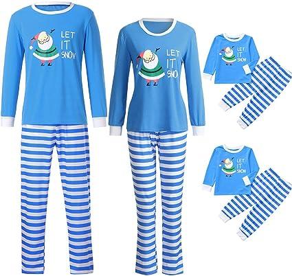 Kehen Family Pijama de Navidad a Juego con Camisa FEA de Papá Noel con Estampado de Rayas y Pantalones Largos para niños pequeños - Azul - Hombres Small: Amazon.es: Ropa y accesorios