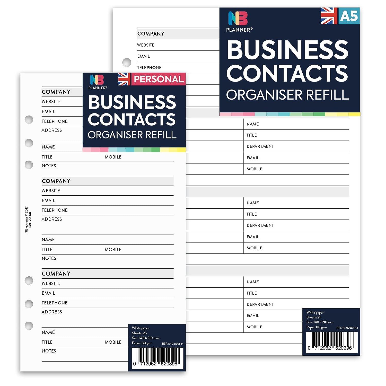 Papier de recharge Nbplanner pour carnets d'adresse - Section réservée pour email, adresse téléphonique - Compatible avec Filofax - Style anglais A5 (148 x 210mm) Domina Group Ltd