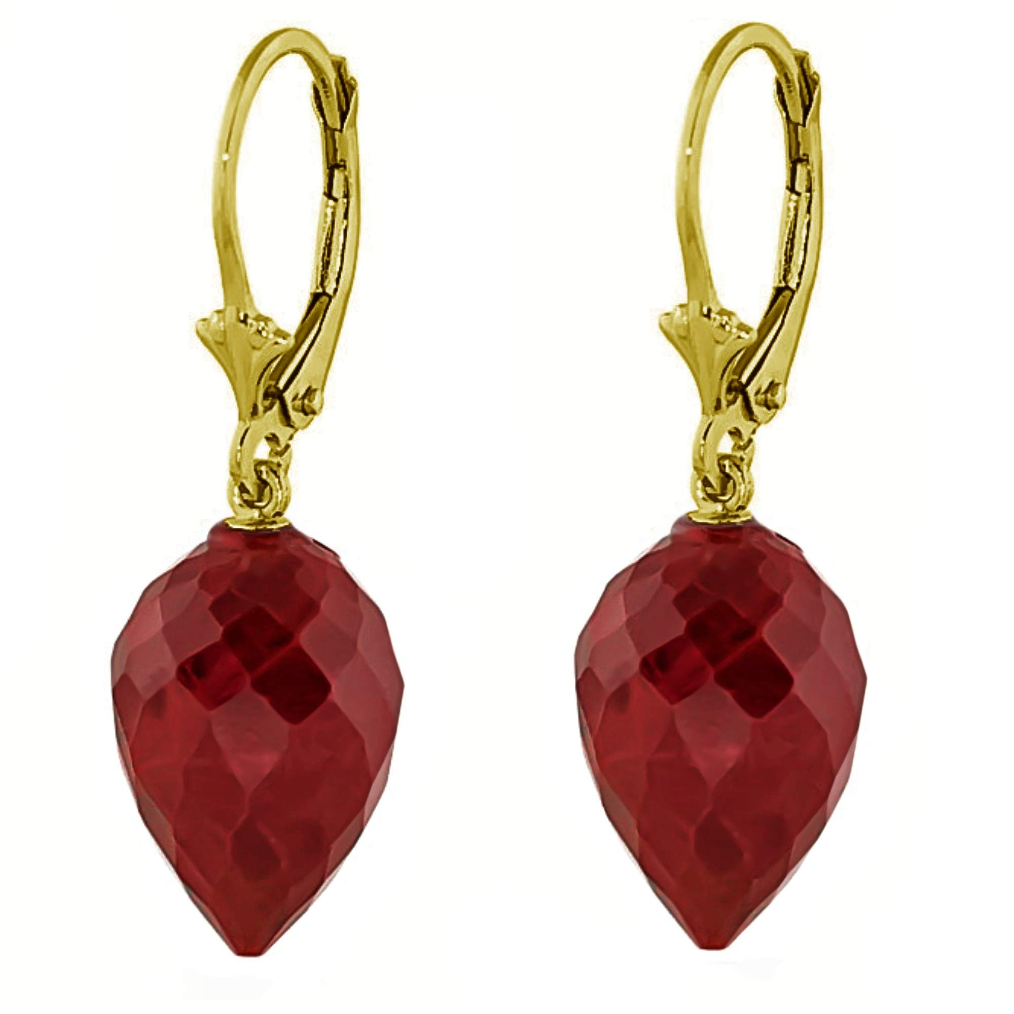 Galaxy Gold 14k Solid Yellow Gold Leverback Earrings with Drop Briolette Natural Rubies
