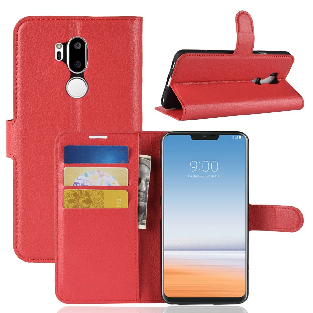 LG G7 ThinQ Case, MYLB Litchi Skin PU Leather [Wallet Flip Cover] [Card Holder] Stand Magnetic Folio Case for LG G7 ThinQ Smartphone (Black) OEM