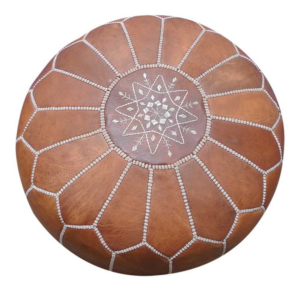 maisonmarrakech Handmade Leather Footstool Marrakech Tan Brown with White Stitching Unstuffed 23'' x 12'' by maisonmarrakech (Image #4)