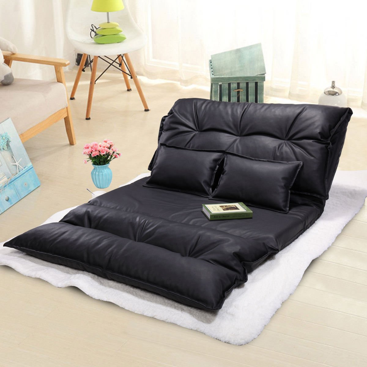 LAZYMOON Black PU Leather Foldable Floor Chair Video Gaming Lounge Sofa Bed Lazy Couch w/ 2 Pillow
