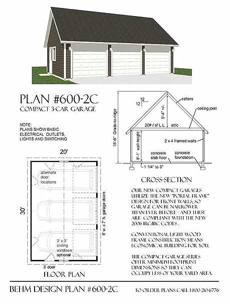 Garage Plans : 2 Car - 600-2C - 30\' x 22\' - three car garage plan ...
