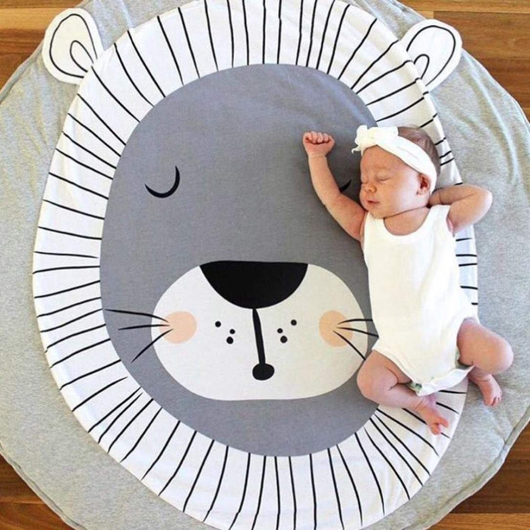 CieKen Children's Baby Game Blanket Cartoon Crawling Lion Round Carpet Floor Play mat Infant Blanket Play Game Mat Environmental Anti-Slip Machine Washable Rugs Childre Room Decoration (Gray)
