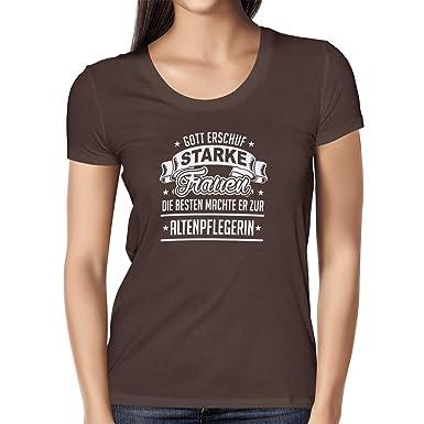 TEXLAB - Altenpflegerin - Damen T-Shirt, Größe S, braun