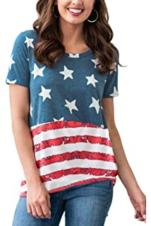 Appliances Xavigio Womens Round Neck Cap Sleeve American Flag Print Independence Day Tank Tops Casual Camis Blouse Shirts