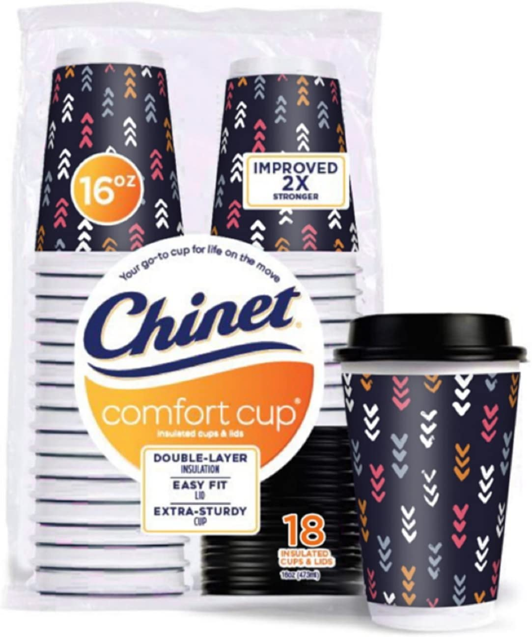 Chinet Double-Wall Hot Cups & Lids, 16 oz, 18 Ct