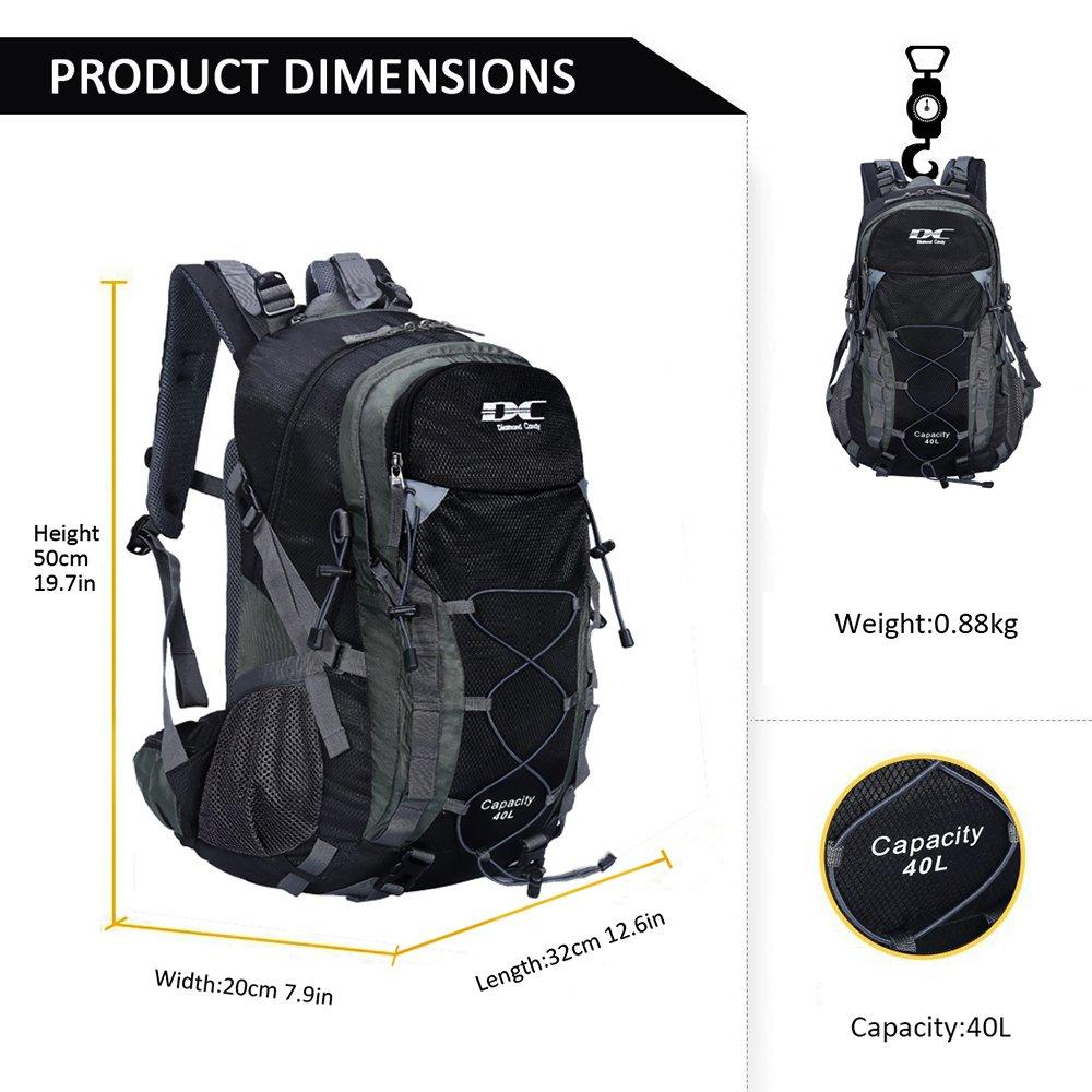 Diamond Candy Hiking Backpack 40L Waterproof Outdoor Lightweight Travel Black Backpacks Men Women Rain Cover, Bag Mountaineering Camping Climbing Cycling Fishing