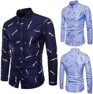 Camisas de Vestir Slim Hombre, Blusas Hombre, 👔Camisa Estampada de Manga Larga Delgada Casual de Verano de los Hombres Blusa Tops por Venmo (Armada, XL): Amazon.es: Ropa y accesorios