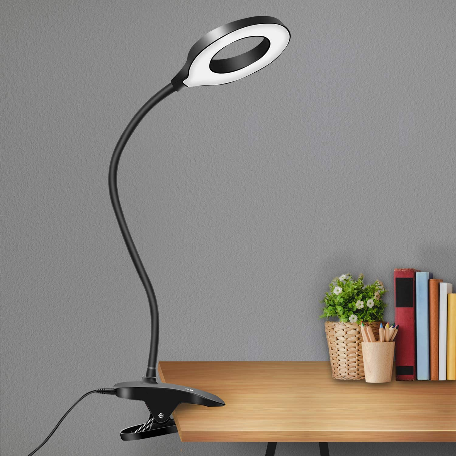 GLFERA Clamp LED Desk Lamp, Flexible Gooseneck Table Lamp, 3 Lighting Modes with 3 Brightness Levels, Dimmable Office Lamp with Adapter, Touch-Sensitive Control, Memory Function(Black)