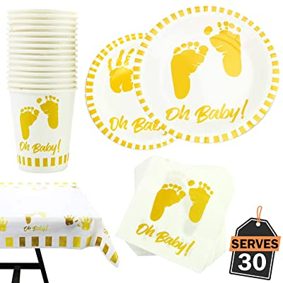 141 Piece Baby Shower Party Supply Set, Including Plates, Cups, Napkins and Tablecloth, Serves 30: Toys & Games