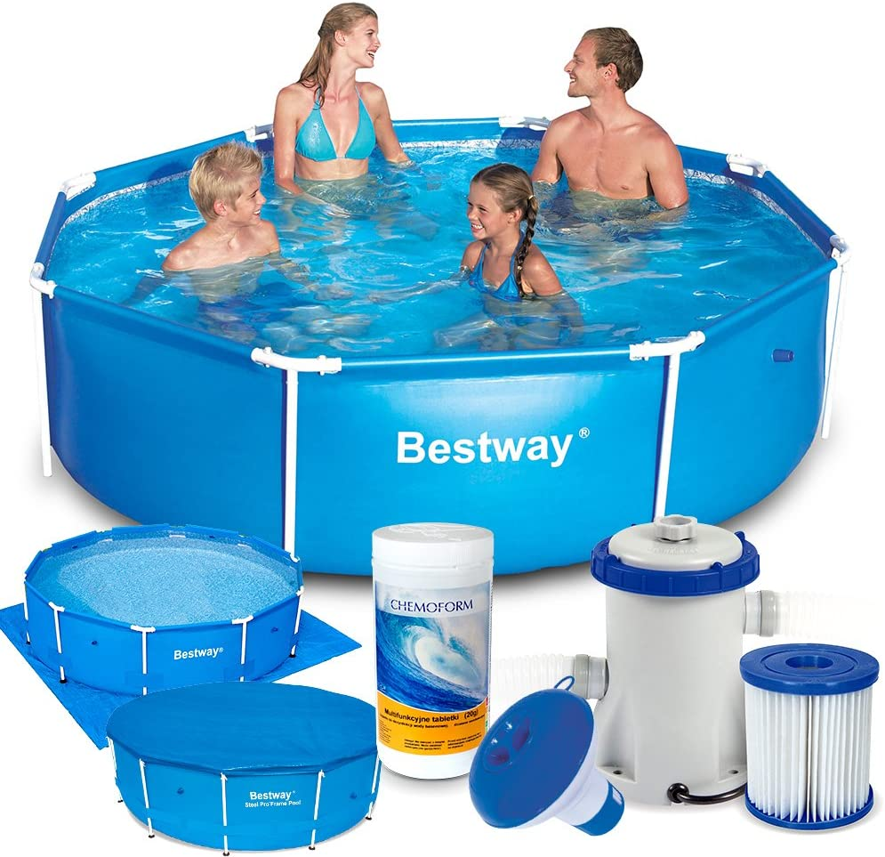 Bestway 7 in1 Set Steel Pro Frame Pool 244 x 61 cm 56431 con Bomba ...