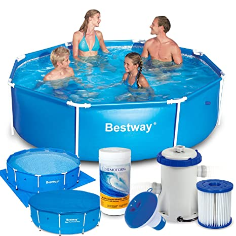 Bestway 7 in1 Set Steel Pro Frame Pool 244 x 61 cm 56431 con Bomba de
