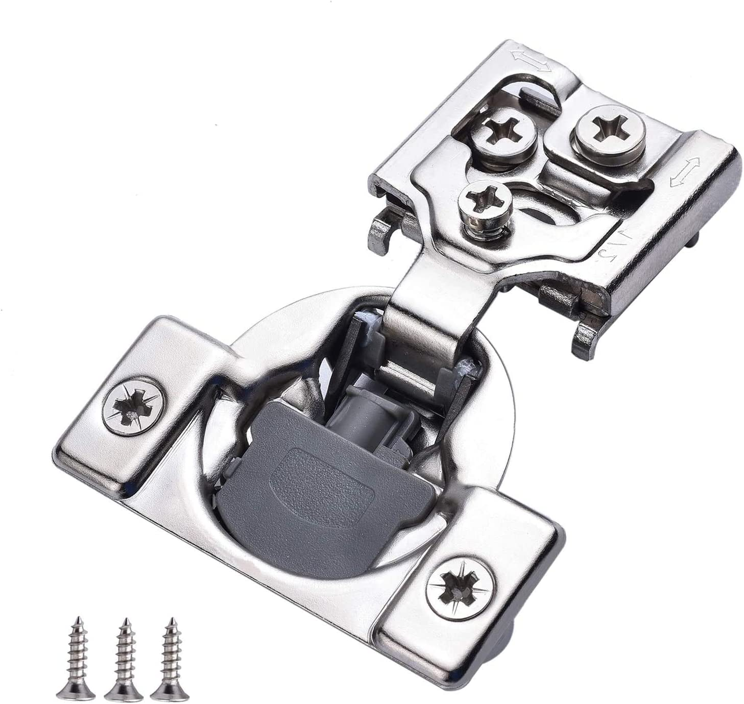 """60 Pieces 1//2/"""" Overlay Face Frame Self Closing Cabinet Door Hinges with Dowels"""