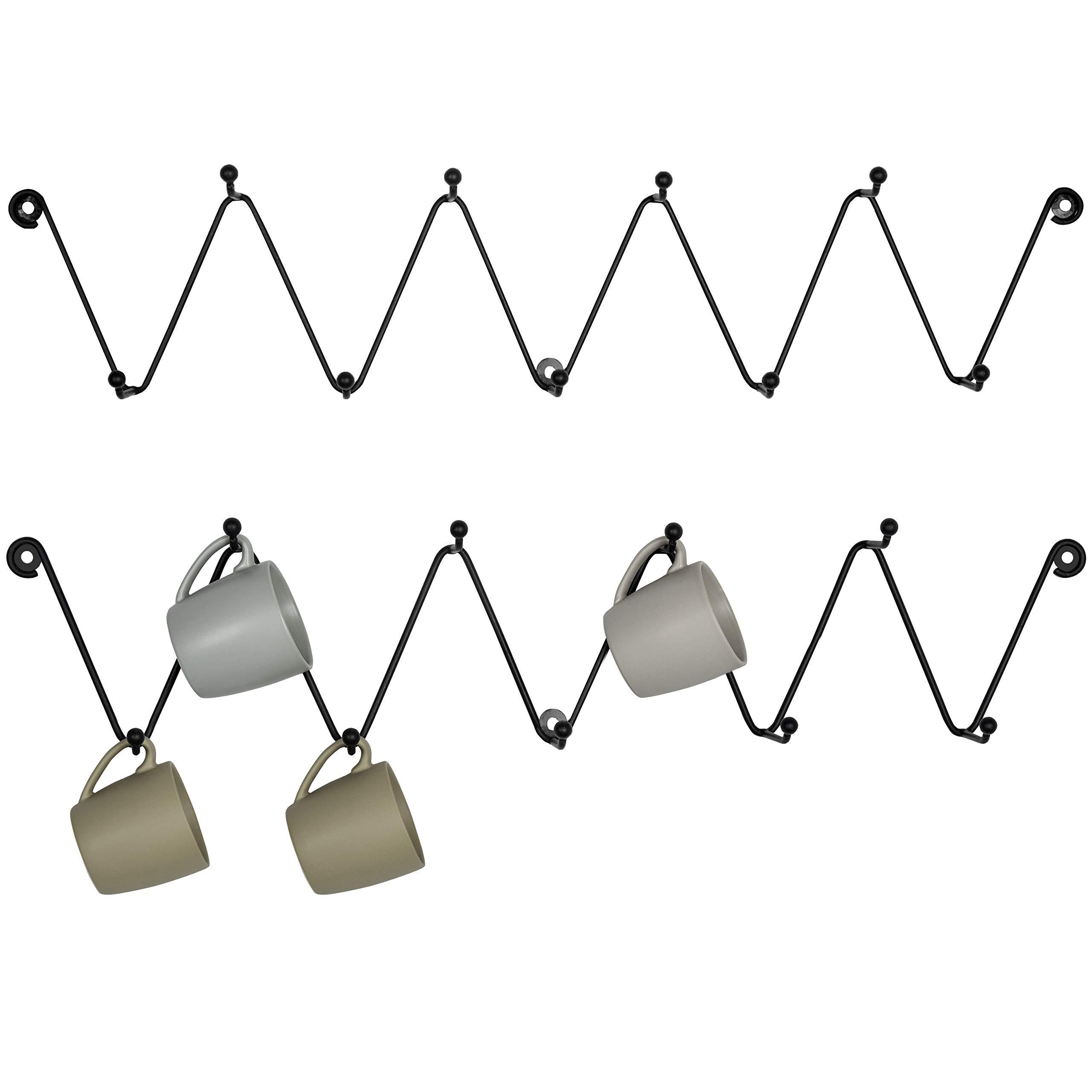 MyGift Black Metal Zig-Zag Wall-Mounted 9-Hook Mug Racks, Set of 2 by MyGift