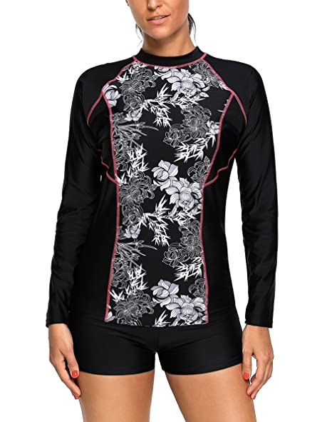 05039ebe7a Nicetage Women's Fashion Printing Rashguard Long Sleeve UV Protection  Surfing 2 Piece Tankini Swimsuit Swimwear Set