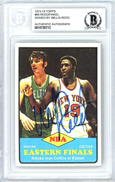 Willis Reed Autographed Signed 1973-74 Topps Card Autographed Signed #66 New York Knicks - Beckett Authentic at Amazons Sports Collectibles Store