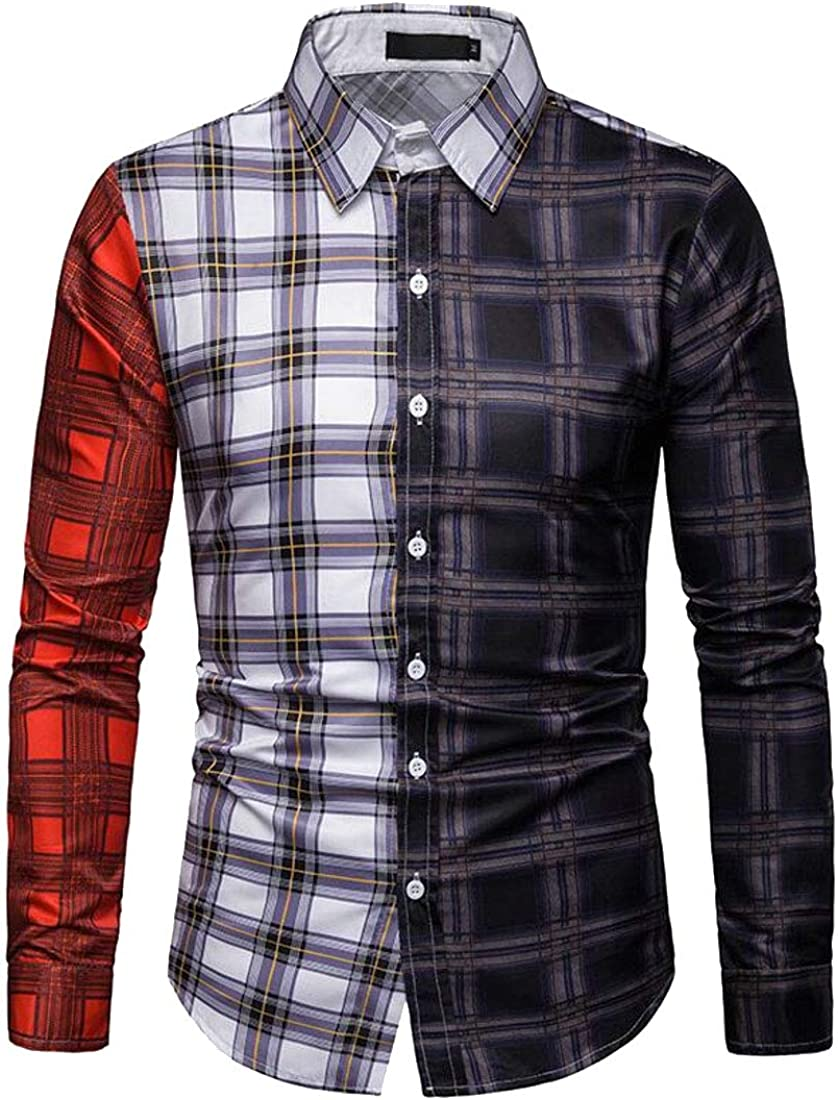 Fubotevic Mens Slim Casual Business Color Block Long Sleeve Flannel Checkered Shirt