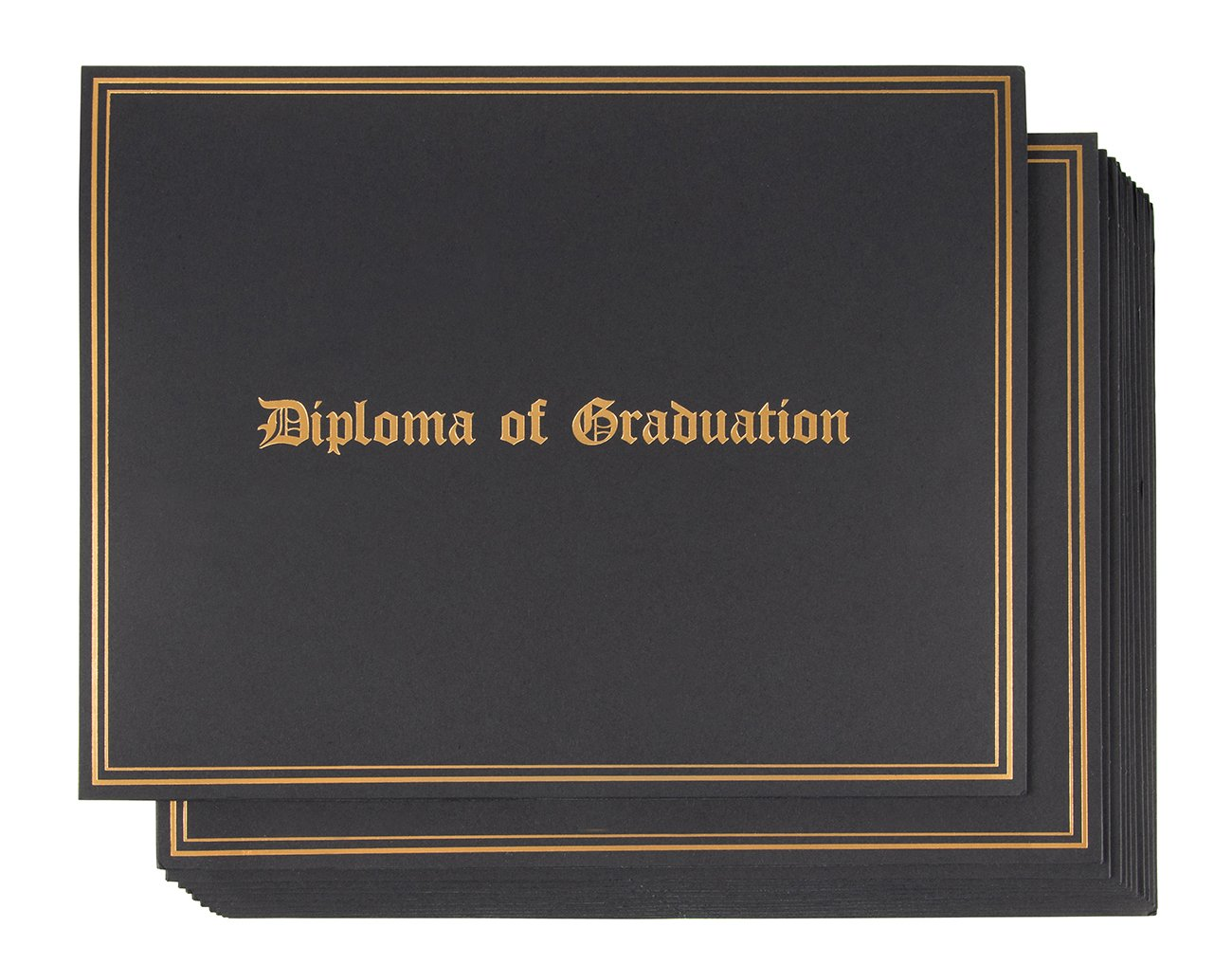 Certificate Holder - 12-Pack Diploma Covers for Graduation Ceremony, Document Holder for Letter-Sized Award Certificates, Black with Gold Foil Designs, 11.2 x 8.7 inches