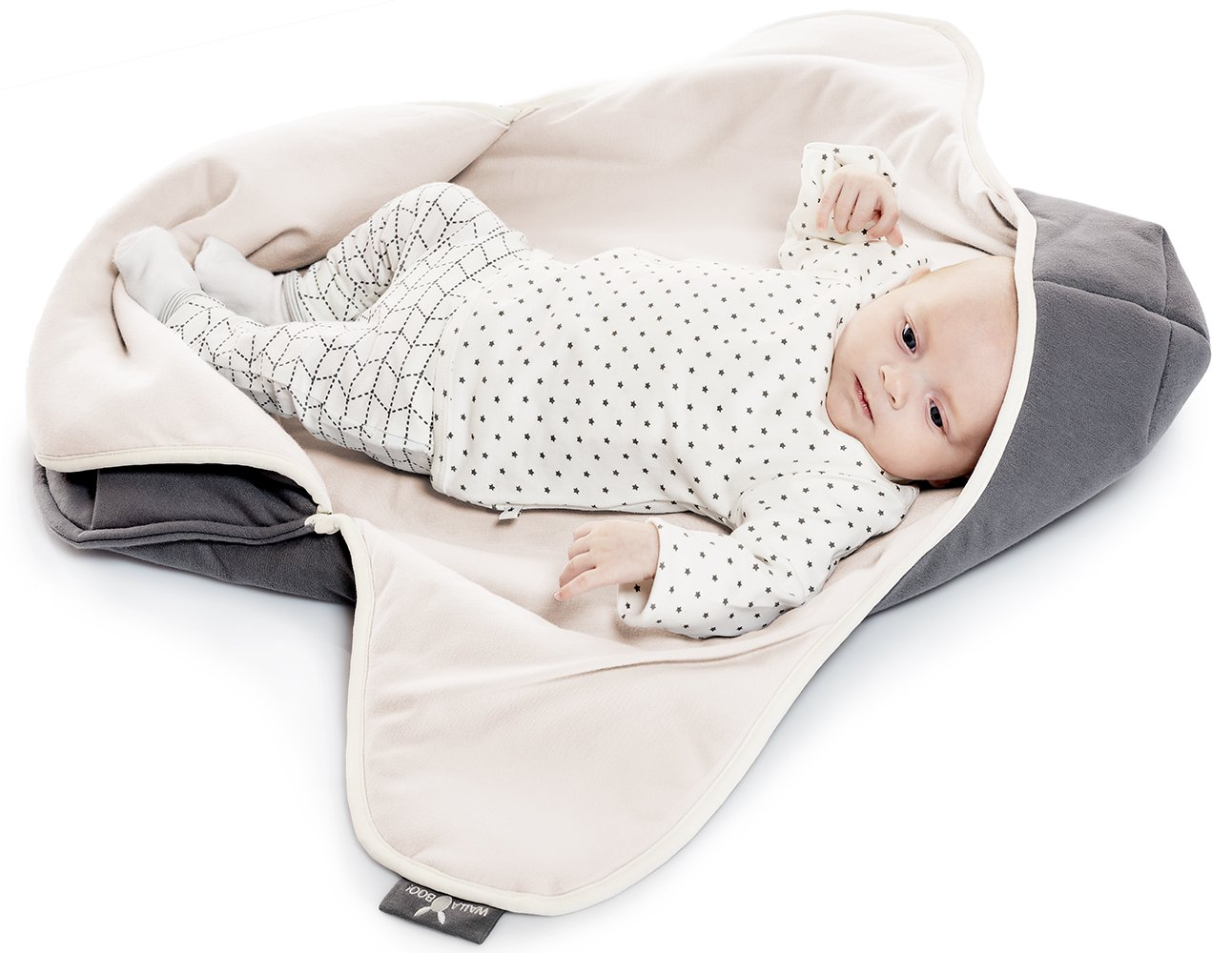Blue//White Wallaboo Baby Blanket Coco 0-10 Months Super Soft Hooded Receiving Blanket Easy For Travel and Home 100 Percent Pure Cotton