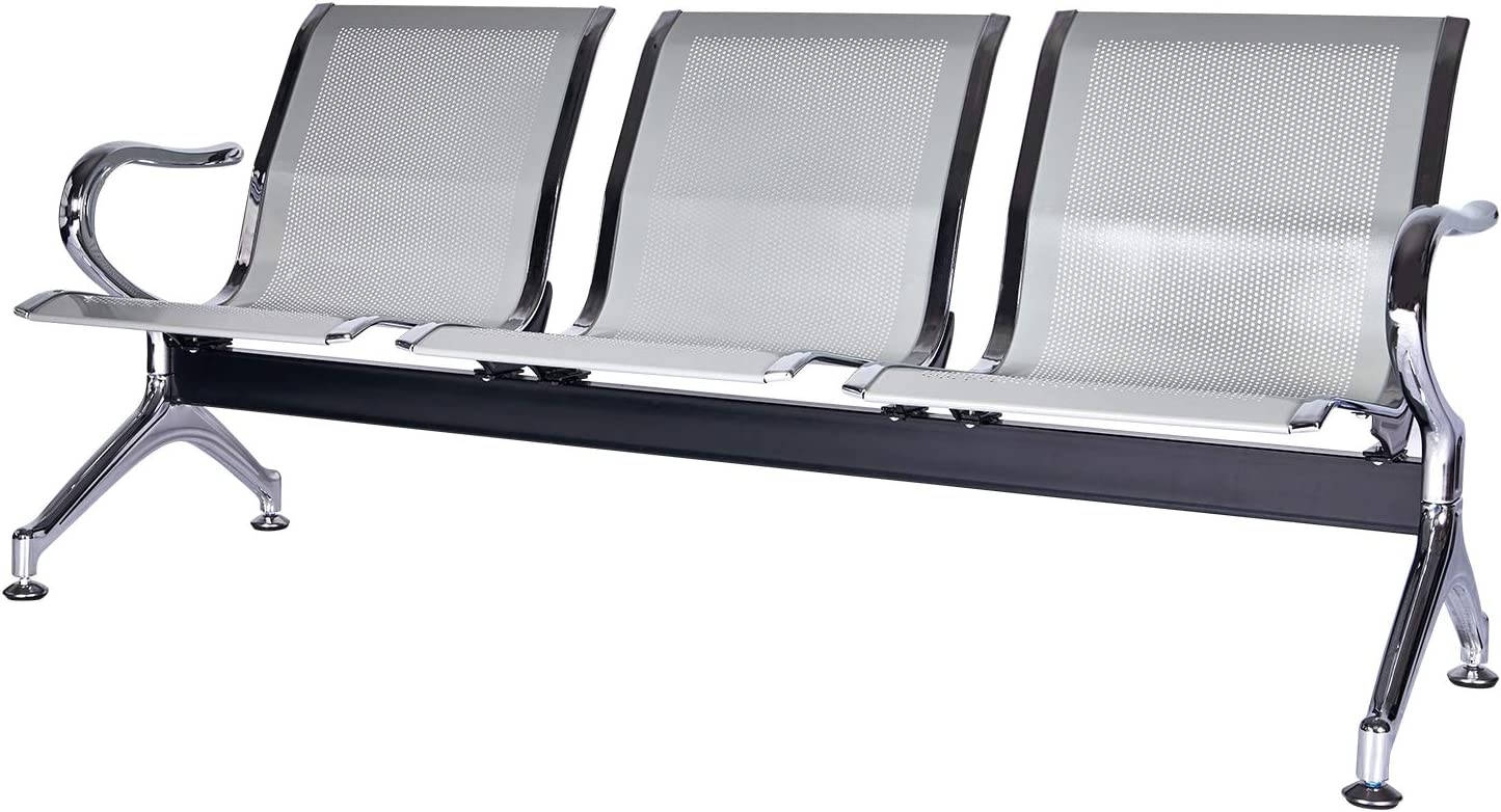Airport Office Reception Waiting Area Bench Guest Chair Lobby Bench Seating with Arms for Bank, Hospital, School, Barbershop