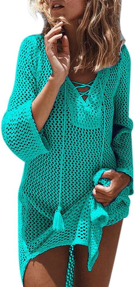 Copricostume Donna Mare Traforato,Copricostumi E Parei Donna Manica Lungo Turchese all Uncinetto Maglieria Trasparente Sciolto Bikini Cover Up Costume da Bagno Spiaggia Tunica Camicia Abito Kimono