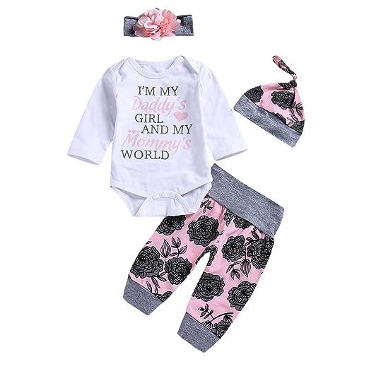 136587d898e4 Amazon.com  4PCS Infant Baby Girl Floral Outfits Set Romper + Pants ...