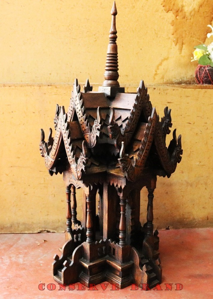 Thailand : Spirit House (Large Sized) 12 x 12 x 27 inches, Hand Made Wood Carving Thai Vintage Design By Conserve Brand. by Conserve Brand