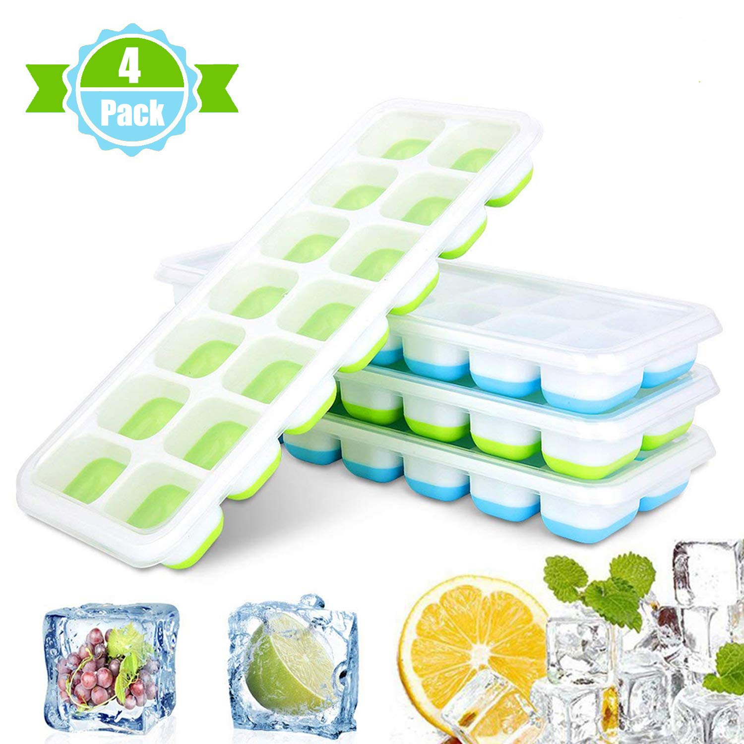 Ice Cube Trays, [4 Pack]Easy-Release Silicone and Flexible 14-Ice Trays with Spill-Resistant Removable Lid,FDA Approved/BPA-free Ice Cube Tray Set for Freezing Baby Food,Cocktails,Whiskey-Dishwasher Safe,(Blue & Green)