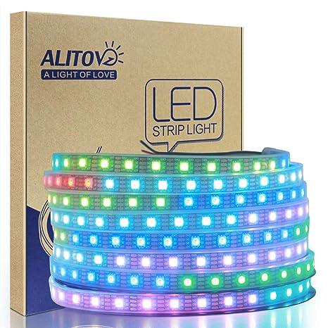 ALITOVE WS2813 12V LED Strip Light 12V WS2812B RGB Addressable LED Pixel  Tape Light WS2815 Programmable LED Felxible Strip 16 4ft/5m 300 LEDs