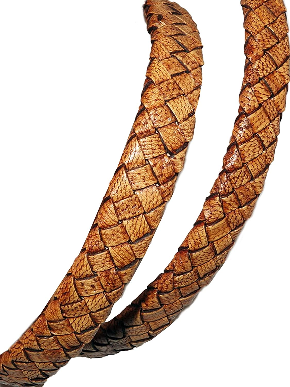 cords craft 10x4mm Flat Braided Genuine Leather Cord, Tan, Color, Piece of 1 Meter for making Bracelet & Jewelry M1-D4