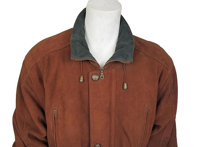 Nuevo Hombre Clasico Rust Nubuck de Cuero de Moda del Boton de la Chaqueta de la Bici de la Roca XL: Amazon.es: Ropa y accesorios