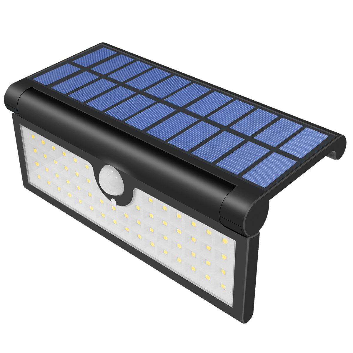 Yasolote, Solarleuchten, 58 LED Außen Wandlampe, Wasserdichte Wandleuchte mit Bewegungsmelder und 3 Modi, Aussenleuchten für Haus, Garten, Balkon, Terrassen, Wegbeleuchtung [Energieklasse A+++] 58 LED Außen Wandlampe Aussenleuchten für Haus