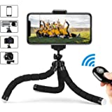 Flexible Tripod for Cell Phone, Selfie Stick Tripod with Bluetooth Remote, Phone Tripod Mount with 360 Rotation Smartphone Holder Adapter, Portable, Phone Stand, Phone Holder