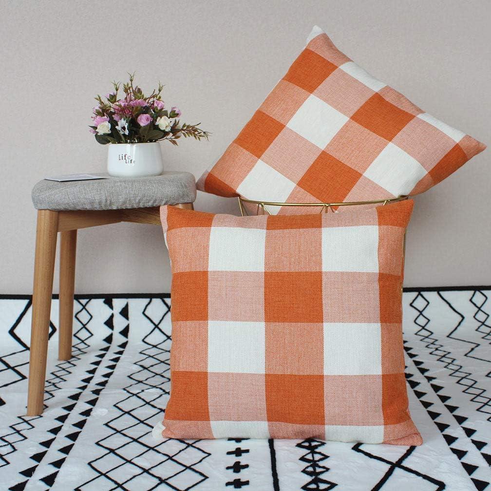ULOVE LOVE YOURSELF 2Pack Farmhouse Decor Orange&White Throw Pillow Covers Rustic Buffalo Check Plaid Linen Pillowcases Home Decorative Cushion Cover 18 x 18 Inch (Orange&White)