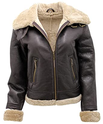 Women s Brown B3 WW2 Ginger Real Thick Sheepskin Leather Flying Jacket XS a5b3d9d6d01