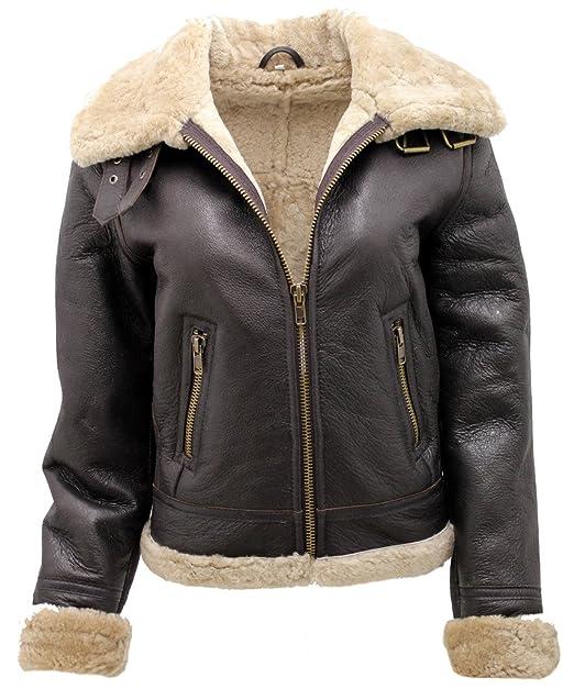 fcfd32ddc23c6 Marrón B3 WW2 Ginger real grueso de piel de oveja Flying Jacket  Amazon.es   Ropa y accesorios