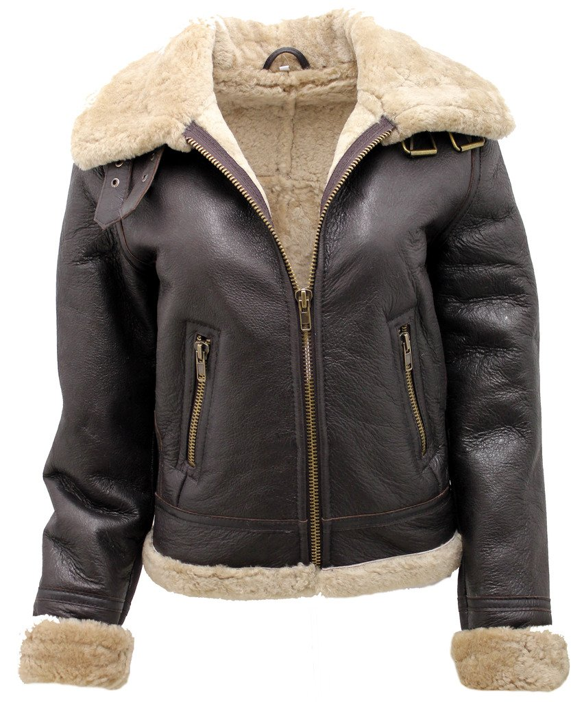 Women's Brown B3 WW2 Ginger Real Thick Sheepskin Leather Flying Jacket L