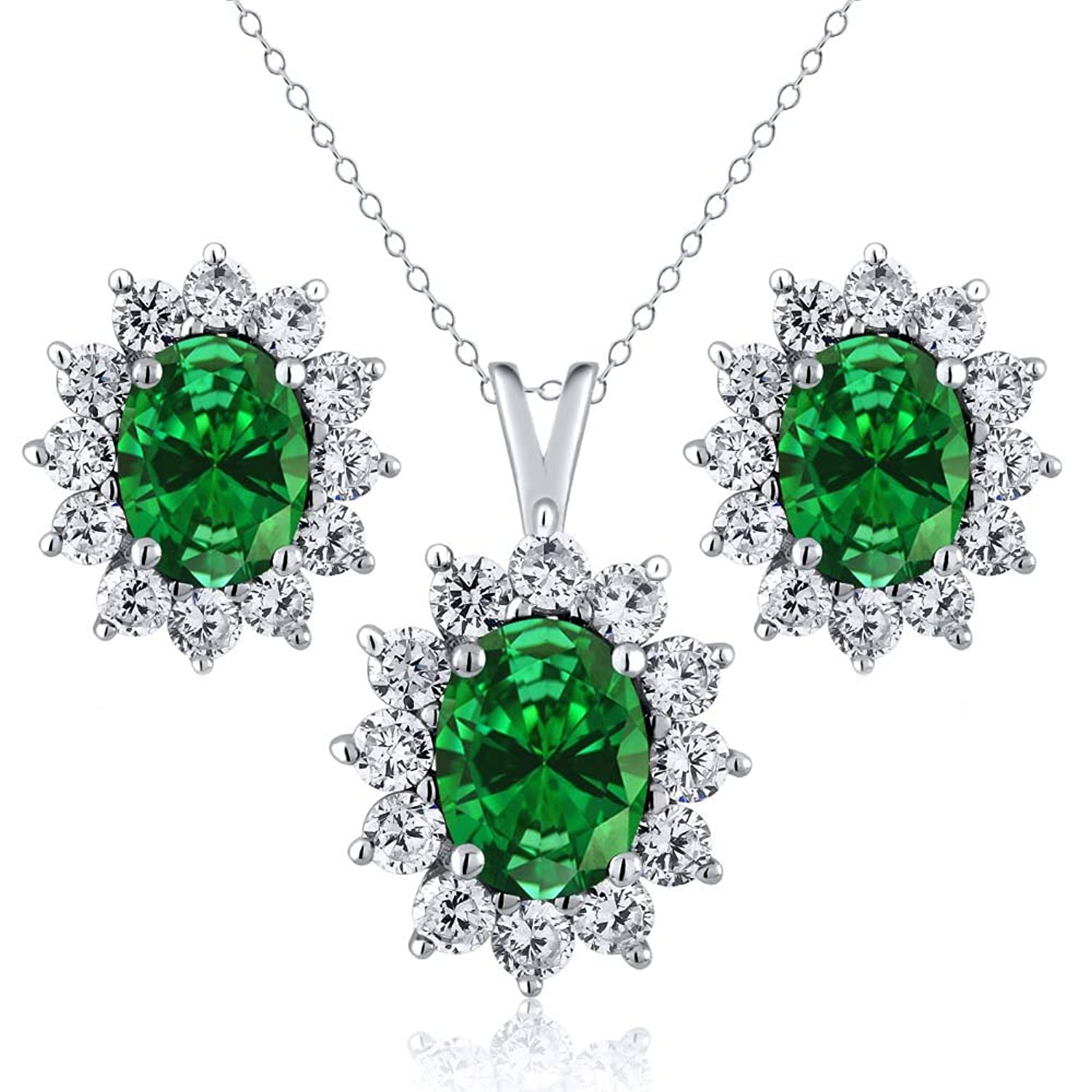 3.40 Ct Oval Green Simulated Emerald 925 Sterling Silver Pendant Earrings Set with 18 Inch Silver Chain