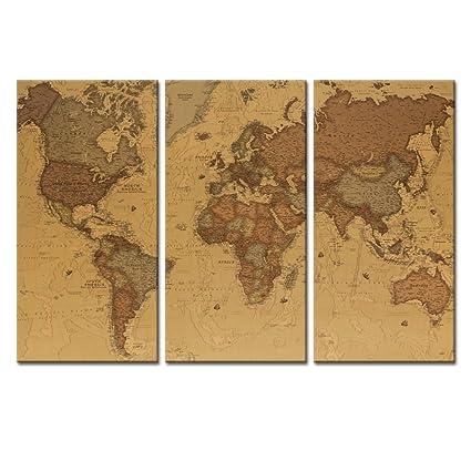 Large World Map Printable.Amazon Com Large World Map Canvas Wall Art Retro Vintage Canvas