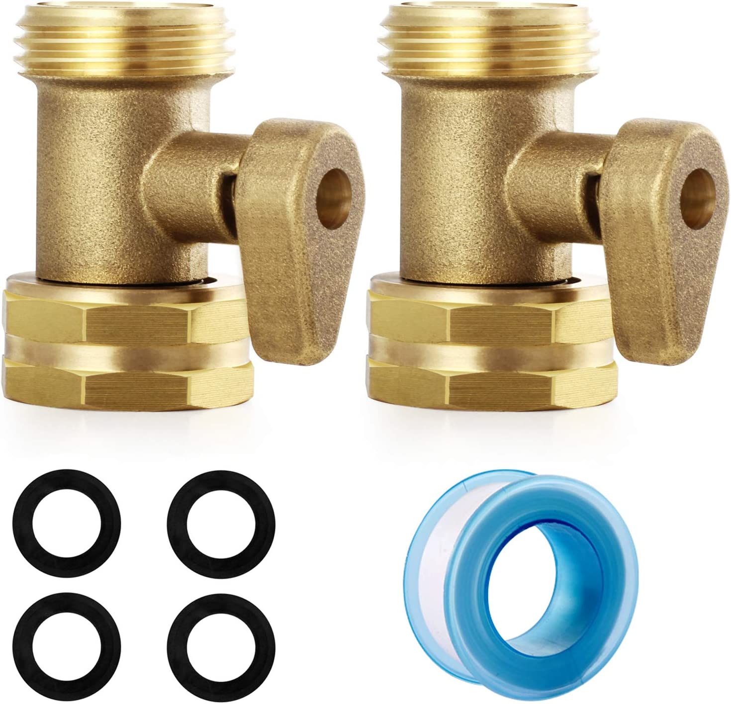 YELUN Heavy Duty Brass Shut Off Valve Garden Hose Valve,Nozzle Hose Connections Garden Hose Shut Off Valve 2Set