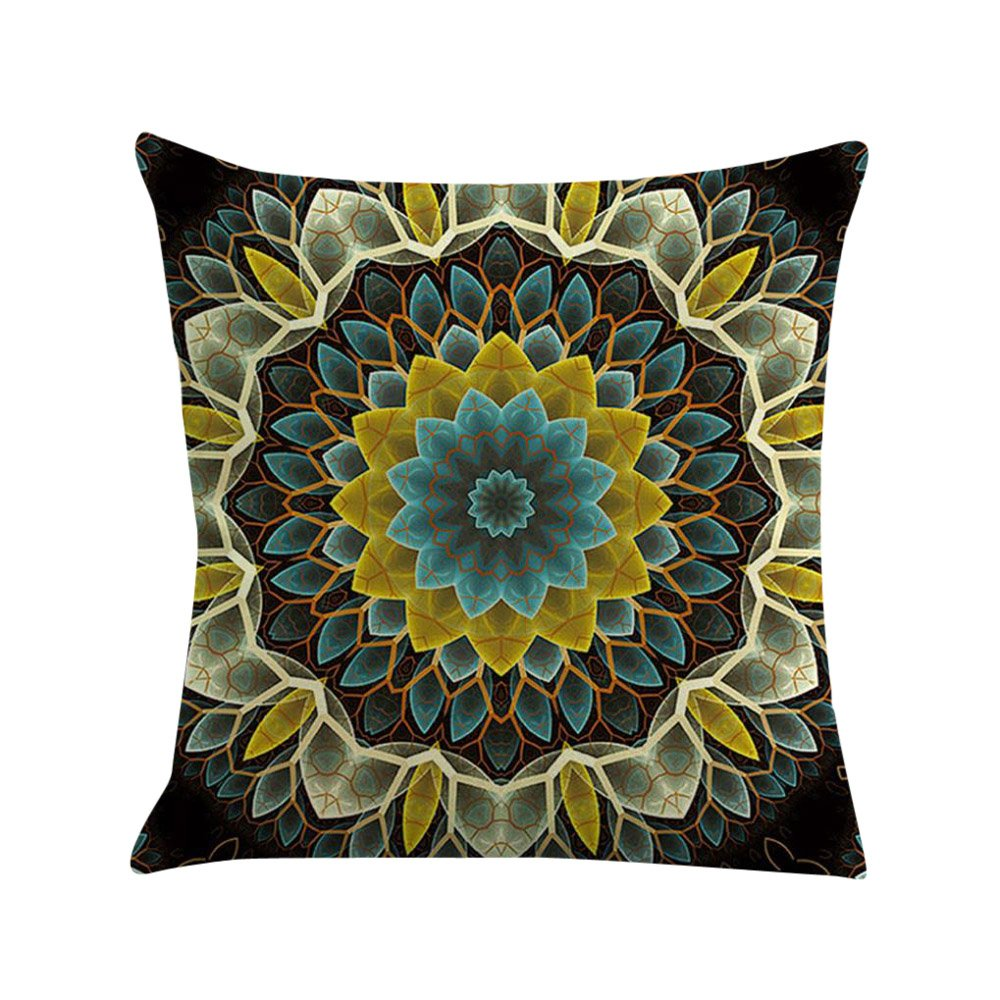 TOOPOOT Bohemia Geometry Printing Cotton Linen Throw Pillow Pillowcase (f)