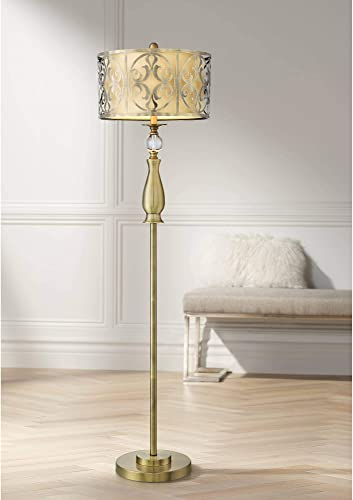 Doris Modern Floor Lamp Antique Brass Outer Cutout Openwork Inner Neutral Fabric Double Drum Shade