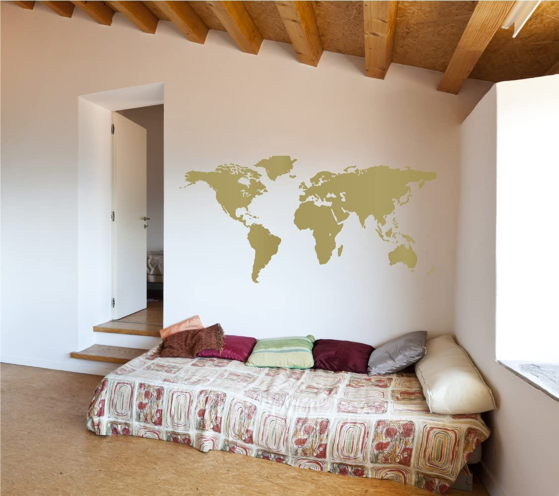 The Decal Guru World Map Vinyl Wall Art Sticker   Earth Home Decor Removable Sticker Easy to Apply Wall Graphic (Gold, 22x32 inches)