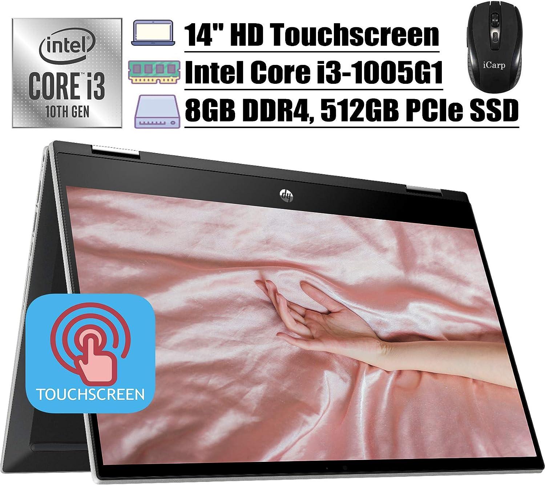 "2020 Latest HP Pavilion X360 2 in 1 Laptop 14""HD Touchscreen 10th Gen Intel Core i3-1005G1 (Beats i5-7200U) 8GB DDR4 512GB PCIe SSD B&O WiFi Webcam HDMI Win 10 + iCarp Wireless Mouse"