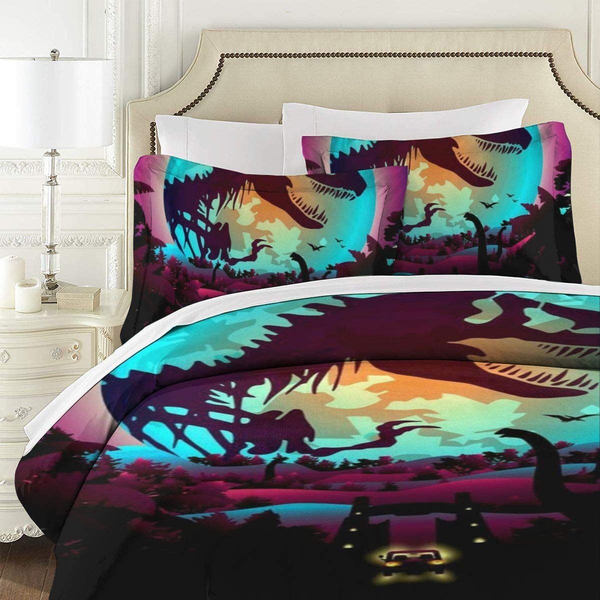 Private Bath Customiz Colorful Dinosaurs World 3D Quilt Reversible Bedding Sets Comforter Bedspread Set Queen Size 3 Piece Duvet Cover Set with 2 Pillow Cases for Men Women Kids 86 X 70 Inches