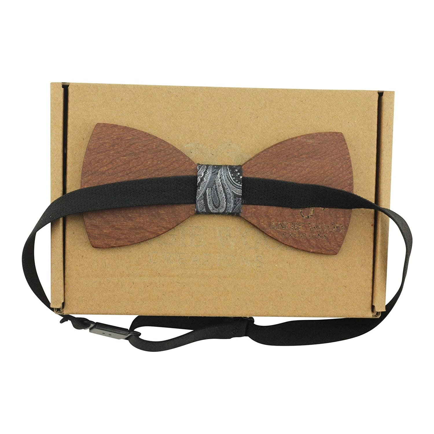 Large Round Red Sandalwood Bow Tie with Fabric Centre