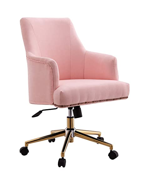 the latest 58618 459d8 Amazon.com: LUXMOD Office Chair in Fabric Pink in Gold ...