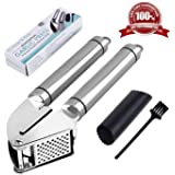Heim & Elda Garlic Press set, Heavy Duty Stainless Steel Kitchen Garlic Mincer and Silicone Tube Roller